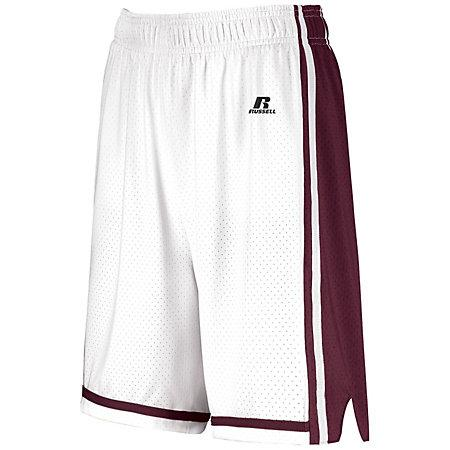 Ladies Legacy Basketball Shorts White/maroon Single Jersey &