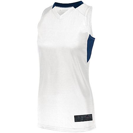 Señoras Step-Back Baloncesto Jersey Blanco / azul marino Single & Shorts