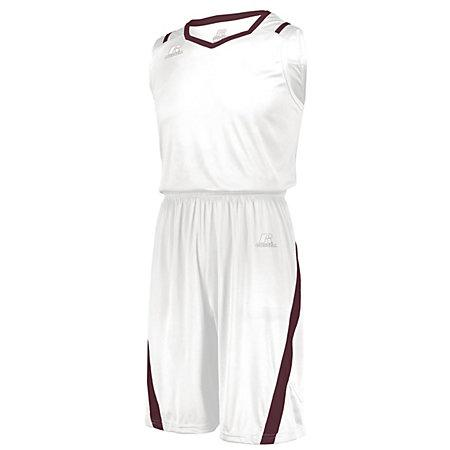 Athletic Cut Jersey Blanco / granate Adultos Baloncesto Single & Shorts
