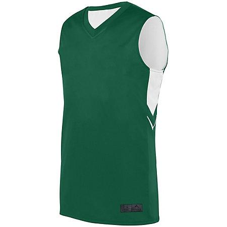 Alley-Oop Maillot reversible Verde oscuro / blanco Adulto Baloncesto Single & Shorts