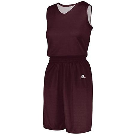 Ladies Undivided Solid Single-Ply Reversible Jersey Maroon/white Basketball Single & Shorts