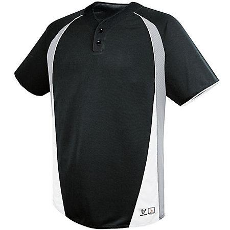 Ace Two-Button Jersey Black/silver Grey/white Adult Baseball