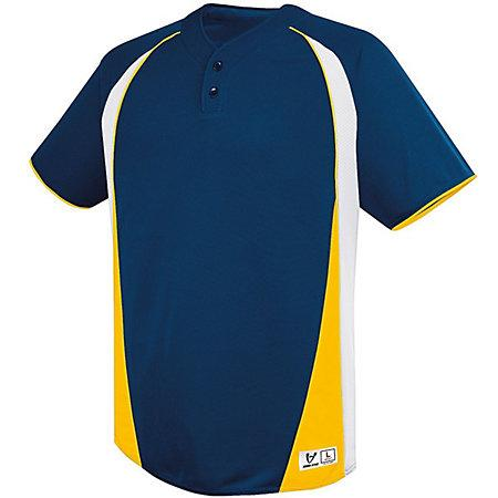 Ace Two-Button Jersey Navy/white/athletic Gold Adult Baseball