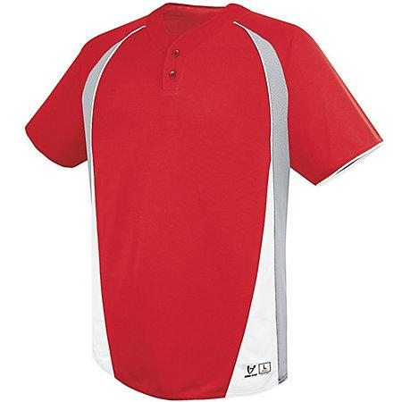 Ace Two-Button Jersey Scarlet/silver Grey/white Adult Baseball