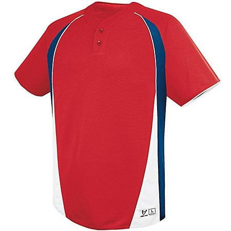 Youth Ace Two-Button Jersey Scarlet/navy/white Baseball