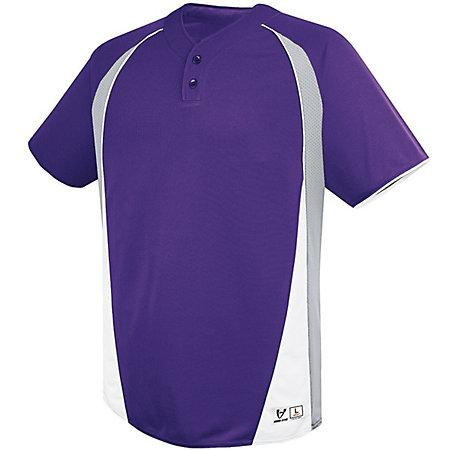 Youth Ace Two-Button Jersey Purple/silver Grey/white Baseball