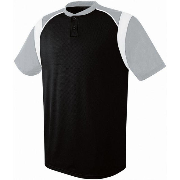 Wildcard Two-Button Jersey Black/silver Grey/white Adult Baseball