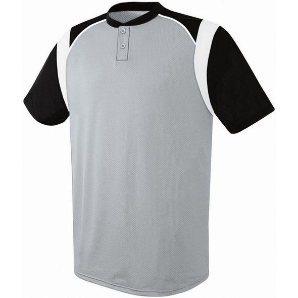 Wildcard Two-Button Jersey Silver Grey/black/white Adult Baseball