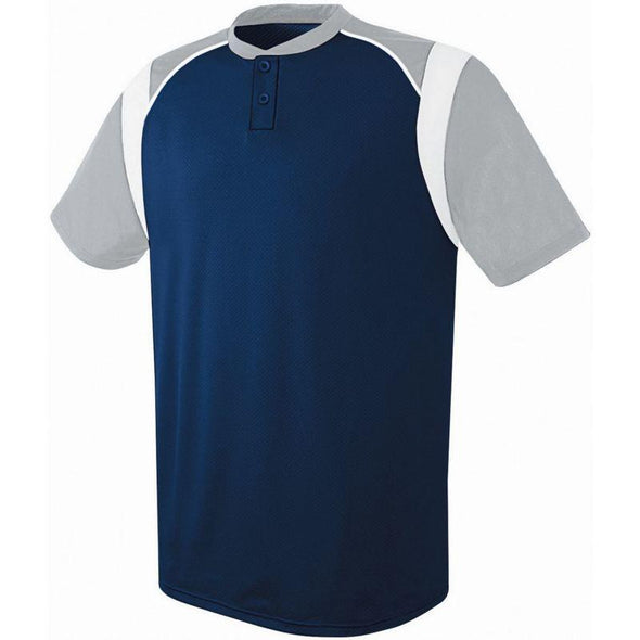 Wildcard Two-Button Jersey Navy/silver Grey/white Adult Baseball