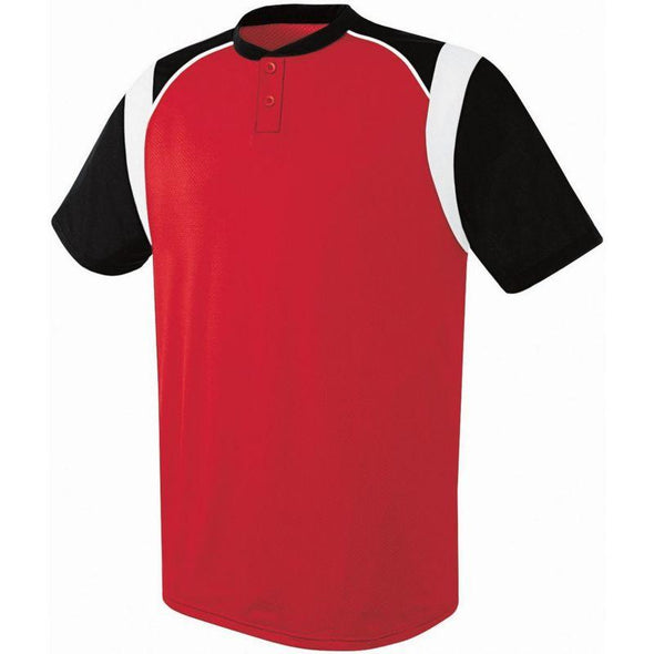 Wildcard Two-Button Jersey Scarlet/black/white Adult Baseball