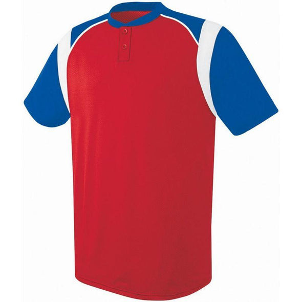 Wildcard Two-Button Jersey Scarlet/royal/white Adult Baseball