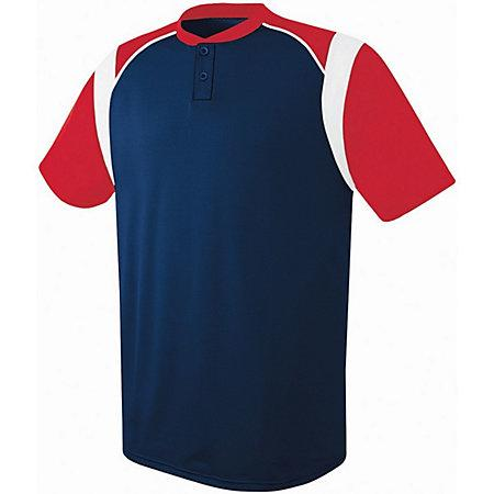 Youth Wildcard Two-Button Jersey Navy/scarlet/white Baseball