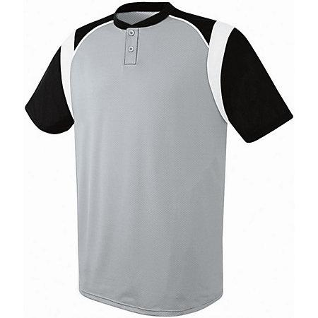 Youth Wildcard Two-Button Jersey Silver Grey/black/white Baseball