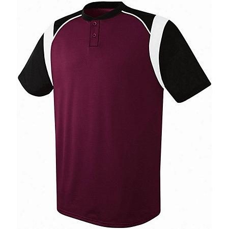 Youth Wildcard Two-Button Jersey Maroon/black/white Baseball