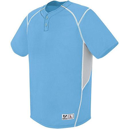 Bandit Two-Button Jersey Columbia Blue/silver Grey/white Adult Baseball