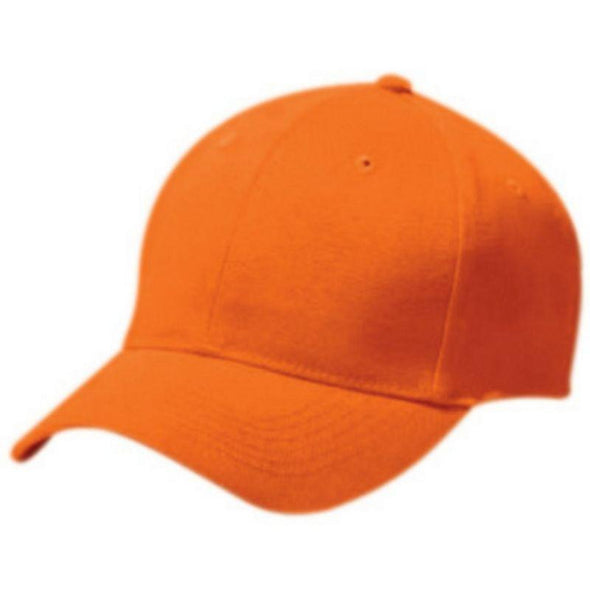 Adult Cotton Twill Six Panel Cap Orange Baseball