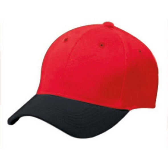 Adult Cotton Twill Six Panel Cap Scarlet/black Baseball