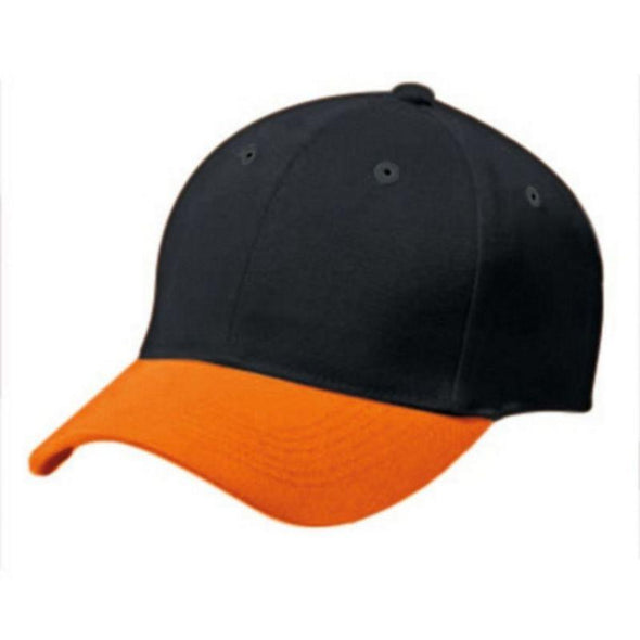 Adult Cotton Twill Six Panel Cap Black/orange Baseball