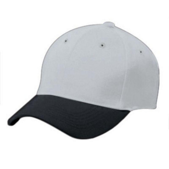 Adult Cotton Twill Six Panel Cap Silver Grey/black Baseball