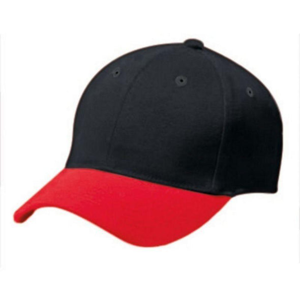 Adult Cotton Twill Six Panel Cap Black/scarlet Baseball