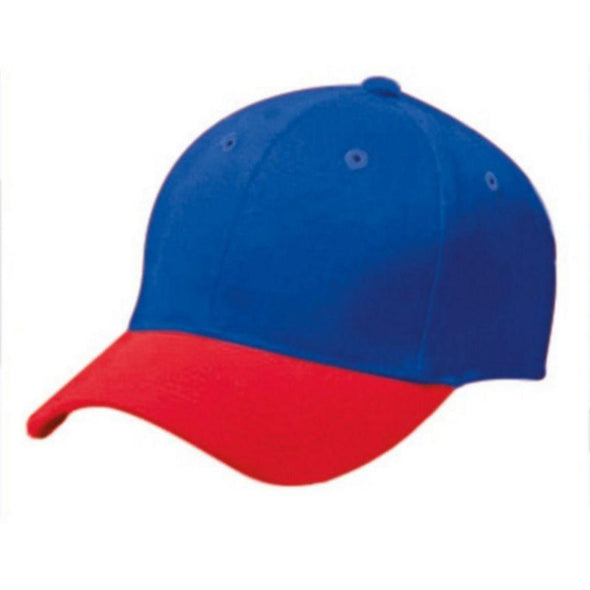 Adult Cotton Twill Six Panel Cap Royal/scarlet Baseball