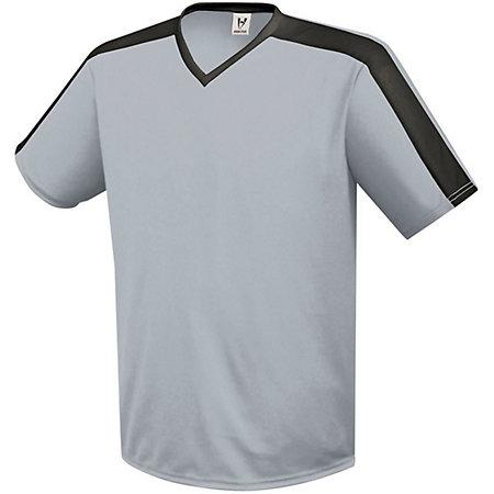 Genesis Soccer Jersey Silver Grey/black Adult Single Soccer Jersey & Shorts