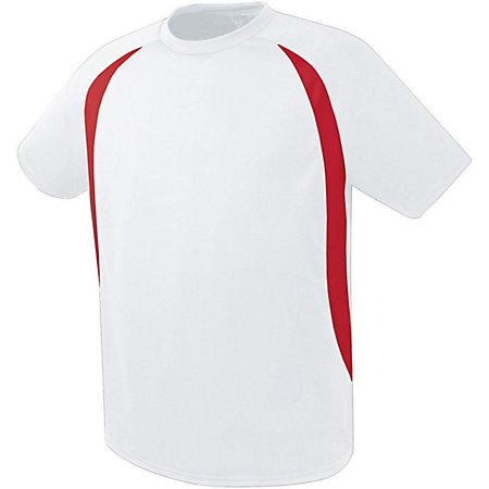 Liberty Soccer Jersey White/scarlet Adult Single & Shorts