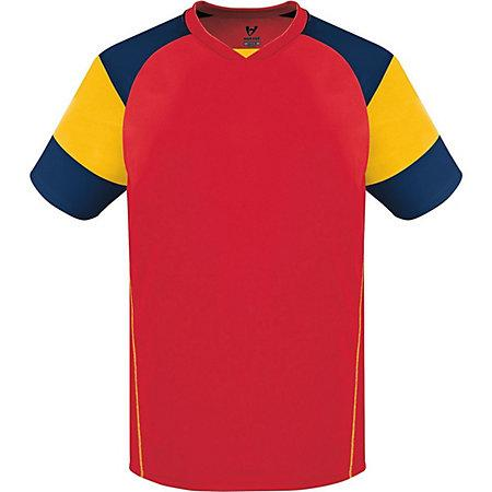 Munro Jersey Scarlet/athletic Gold/navy Adult Single Soccer & Shorts