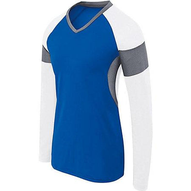 Ladies Long Sleeve Raptor Jersey Royal/white/graphite Adult Volleyball
