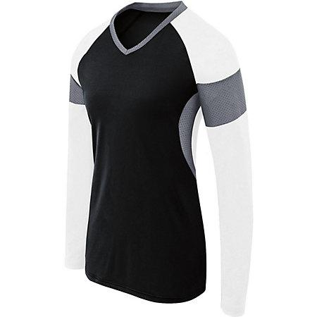 Girls Long Sleeve Raptor Jersey Black/white/graphite Youth Volleyball