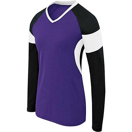 Girls Long Sleeve Raptor Jersey Purple/black/white Youth Volleyball