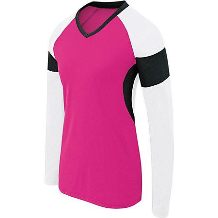 Girls Long Sleeve Raptor Jersey Raspberry/white/black Youth Volleyball