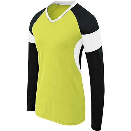 Girls Long Sleeve Raptor Jersey Lime/black/white Youth Volleyball
