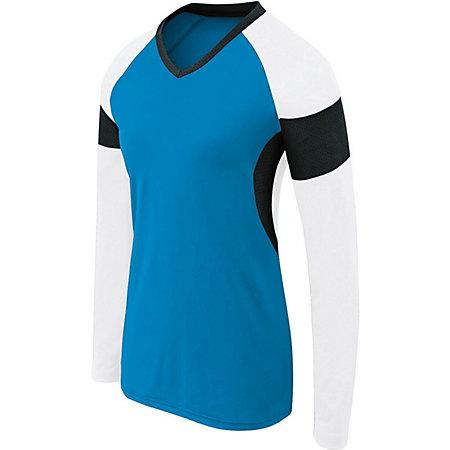 Girls Long Sleeve Raptor Jersey Power Blue/white/black Youth Volleyball