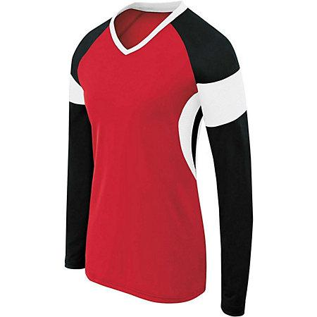 Girls Long Sleeve Raptor Jersey Scarlet/black/white Youth Volleyball