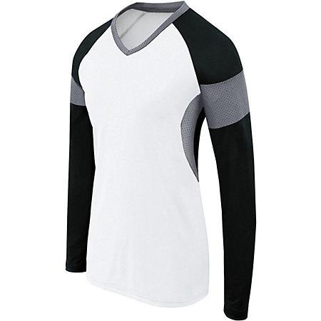 Girls Long Sleeve Raptor Jersey White/black/graphite Youth Volleyball