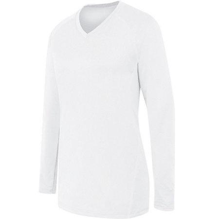 Ladies Long Sleeve Solid Jersey White/white Adult Volleyball