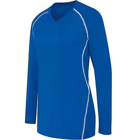 Ladies Long Sleeve Solid Jersey Royal/white Adult Volleyball