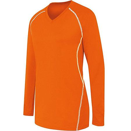 Ladies Long Sleeve Solid Jersey Orange/white Adult Volleyball