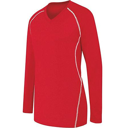 Ladies Long Sleeve Solid Jersey Scarlet/white Adult Volleyball