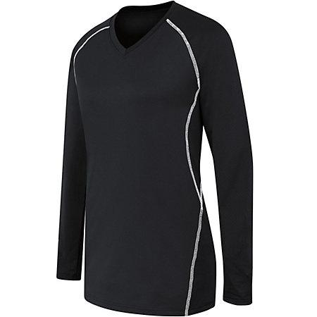 Ladies Long Sleeve Solid Jersey Black/white Adult Volleyball