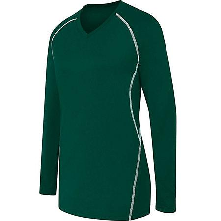 Ladies Long Sleeve Solid Jersey Forest/white Adult Volleyball