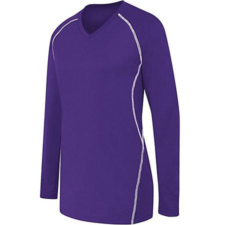 Ladies Long Sleeve Solid Jersey Purple/white Adult Volleyball