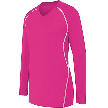 Ladies Long Sleeve Solid Jersey Raspberry/white Adult Volleyball