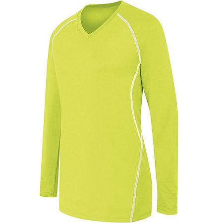 Ladies Long Sleeve Solid Jersey Lime/white Adult Volleyball