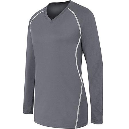 Ladies Long Sleeve Solid Jersey Graphite/white Adult Volleyball