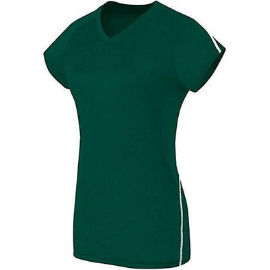 Ladies Short Sleeve Solid Jersey Forest/white Adult Volleyball