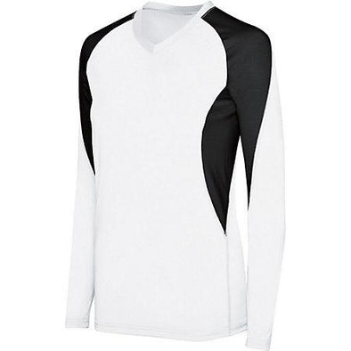 Ladies Long Sleeve Court Jersey White/black Adult Volleyball
