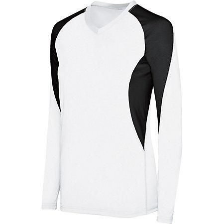 Girls Long Sleeve Court Jersey White/black Youth Volleyball