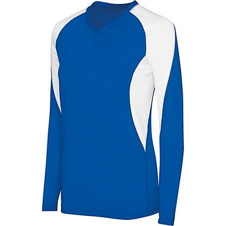 Girls Long Sleeve Court Jersey Royal/white Youth Volleyball